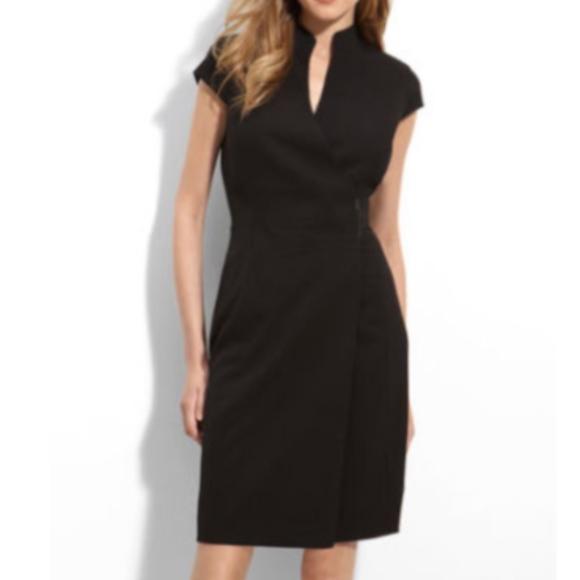 Calvin Klein Dresses Cap Sleeve Wrap Dress Black Size 2p Poshmark
